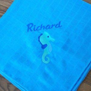 """Mullwindel mit Seepferdchen und Namen """"Richard"""""""